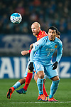 Jiangsu FC Forward Roger Beyker Martinez (R) fights for the ball with Adelaide United Defender Taylor Regan (L) during the AFC Champions League 2017 Group H match between Jiangsu FC (CHN) vs Adelaide United (AUS) at the Nanjing Olympics Sports Center on 01 March 2017 in Nanjing, China. Photo by Marcio Rodrigo Machado / Power Sport Images