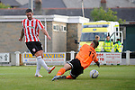 10 July 2014; Rory Patterson Derry City, scores his sides fourth goal , Aberystwyth Town. UEFA Europa League First Qualifying Round, Second Leg, Aberystwyth Town v Derry City. Park Avenue, Aberystwth, Wales. Picture credit: Ian Cook / SPORTINGWALES