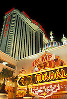 AJ4339, casino, Atlantic City, Taj Mahal, New Jersey, The Taj Mahal Casino Resort illuminated at night in Atlantic City in the state of New Jersey.