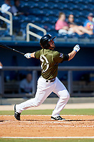Biloxi Shuckers pinch hitter Blake Allemand (7) follows through on a swing during a game against the Jacksonville Jumbo Shrimp on May 6, 2018 at MGM Park in Biloxi, Mississippi.  Biloxi defeated Jacksonville 6-5.  (Mike Janes/Four Seam Images)