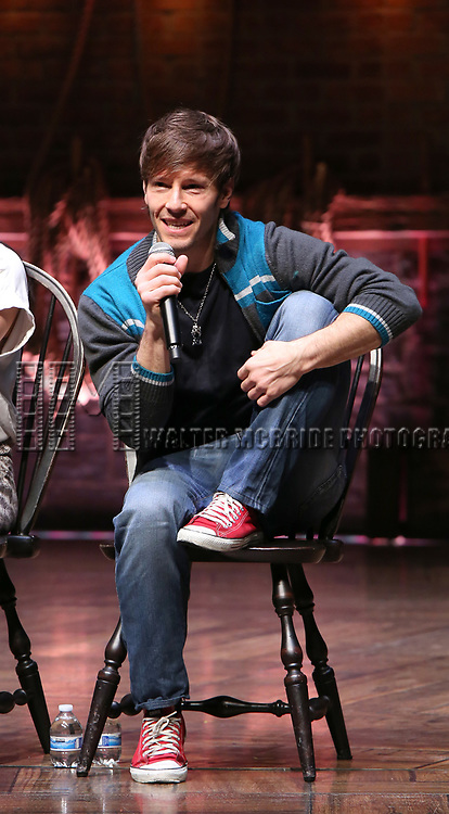 """Thayne Jasperson during the Q & A before The Rockefeller Foundation and The Gilder Lehrman Institute of American History sponsored High School student #eduHAM matinee performance of """"Hamilton"""" at the Richard Rodgers Theatre on 3/12/2020 in New York City."""