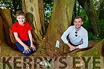 Dylan O'Connor and Dwayne Conway at one the many Fairy Forts part of Tonya's Trail in Killeen Woods on Saturday.