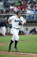 Johnny Adams (25) of the Everett AquaSox runs to first base during a game against the Boise Hawks at Everett Memorial Stadium on July 20, 2017 in Everett, Washington. Everett defeated Boise, 13-11. (Larry Goren/Four Seam Images)