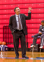 24 November 2015: Yeshiva University Maccabee Head Coach Michael Alon, signals on the side lines during a game against the College of Mount Saint Vincent Dolphins at the Baruch College ARC Arena Gymnasium, in New York, NY. The Dolphins defeated the Maccabees 67-30 in the NCAA Division III Women's Basketball Skyline matchup. Mandatory Credit: Ed Wolfstein Photo *** RAW (NEF) Image File Available ***