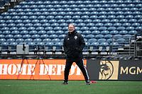 SEATTLE, WA - NOVEMBER 9: Head coach Brian Schmetzer of the Seattle Sounders FC at CenturyLink Field on November 9, 2019 in Seattle, Washington.
