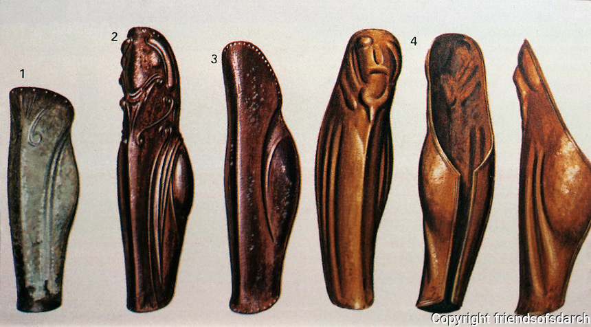 """Greek Arms:  Evolution of Greave from late 7th C. to """"late archaic"""" (late 6th C. ?)  Greaves--armor that protects the legs."""