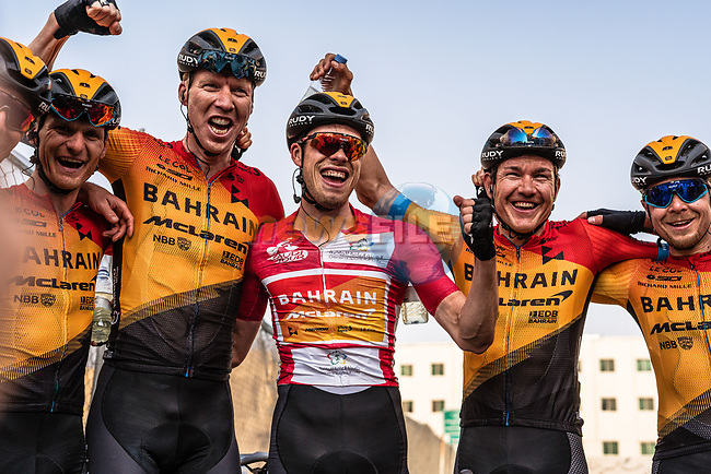 Phil Bauhaus (GER) Bahrain-Mclaren wins the overall general classification pictured with team mates Grega Bole (SLO), Marcel Sieberg (GER), Heinrich Haussler (AUS) and Jan Tratnikat (SLO) at the end of Stage 5 of the Saudi Tour 2020 running 144km from Princess Nourah University to Al Masmak, Saudi Arabia. 8th February 2020. <br /> Picture: ASO/Kåre Dehlie Thorstad | Cyclefile<br /> All photos usage must carry mandatory copyright credit (© Cyclefile | ASO/Kåre Dehlie Thorstad)