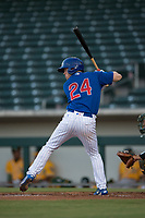 AZL Cubs 1 shortstop Nico Hoerner (24) at bat during an Arizona League game against the AZL Athletics at Sloan Park on June 28, 2018 in Mesa, Arizona. AZL Athletics defeated AZL Cubs 1 5-4. (Zachary Lucy/Four Seam Images)