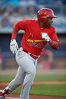 Palm Beach Cardinals designated hitter Johan Mieses (37) runs to first base during a game against the Charlotte Stone Crabs on April 21, 2018 at Charlotte Sports Park in Port Charlotte, Florida.  Charlotte defeated Palm Beach 5-2.  (Mike Janes/Four Seam Images)