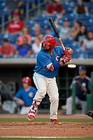 Clearwater Threshers Colby Fitch (10) at bat during a Florida State League game against the Tampa Tarpons on April 18, 2019 at Spectrum Field in Clearwater, Florida.  Clearwater defeated Tampa 10-3.  (Mike Janes/Four Seam Images)