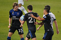 SAN JOSE, CA - SEPTEMBER 19: Carlos Fierro #21 of the San Jose Earthquakes celebrates scoring with teammates during a game between Portland Timbers and San Jose Earthquakes at Earthquakes Stadium on September 19, 2020 in San Jose, California.