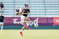 CARY, NC - SEPTEMBER 12: Rocky Rodriguez #11 of the Portland Thorns warms up before a game between Portland Thorns FC and North Carolina Courage at WakeMed Soccer Park on September 12, 2021 in Cary, North Carolina.