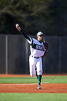 Chicago State Cougars third baseman Sanford Hunt (25) warmup throw to first base during a game against the Georgetown Hoyas on March 3, 2017 at North Charlotte Regional Park in Port Charlotte, Florida.  Georgetown defeated Chicago State 11-0.  (Mike Janes/Four Seam Images)