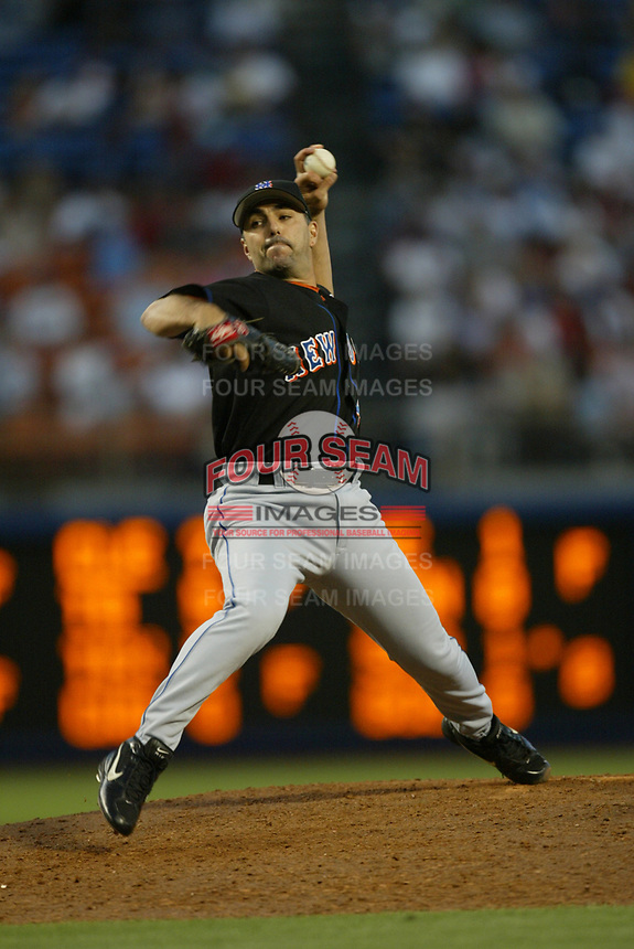 John Franco of the New York Mets during a 2003 season MLB game at Dodger Stadium in Los Angeles, California. (Larry Goren/Four Seam Images)