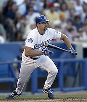 Kevin Brown of the Los Angeles Dodgers bats during a 2002 MLB season game at Dodger Stadium, in Los Angeles, California. (Larry Goren/Four Seam Images)
