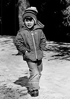 The first kids: Dad's back in power but it was school as usual for the Trudeau kids as they trudged through the snow to class in Ottawa. Squinting in the sunlight is Michel.4.<br /> <br /> he later died in an avalanche<br /> <br /> Photo : Boris Spremo - Toronto Star archives - AQP