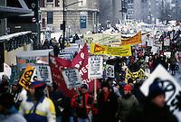 February 7, 1993 File Photo -  Members of various unions march in the street of Montreal.<br /> <br /> Des membres de différents syndicats défilent dans les rues de Montréal, le 7 février 1993.