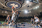 Feb 23, 2014; Natalie Achonwa (11) goes up for a shot as Duke Blue Devils center Elizabeth Williams (1) defends in the second half at the Purcell Pavilion. Achonwa was called for an offensive foul on the play. Notre Dame won 81-70.<br /> <br /> Photo by Matt Cashore
