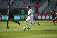 LOS ANGELES, CA - APRIL 17: Daniel Pereira #15 of Austin FC moves with the ball during a game between Austin FC and Los Angeles FC at Banc of California Stadium on April 17, 2021 in Los Angeles, California.