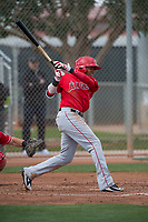 Los Angeles Angels third baseman Julio Garcia (3) during a Minor League Spring Training game against the Cincinnati Reds at the Cincinnati Reds Training Complex on March 15, 2018 in Goodyear, Arizona. (Zachary Lucy/Four Seam Images)