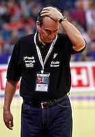 Spanish national handball team coach Rivera Valero reacts after man`s EHF EURO 2012 championship semifinal handball game between Denmark and Spain in Belgrade, Serbia, Friday, January 27, 2011.  (photo: Pedja Milosavljevic / thepedja@gmail.com / +381641260959)