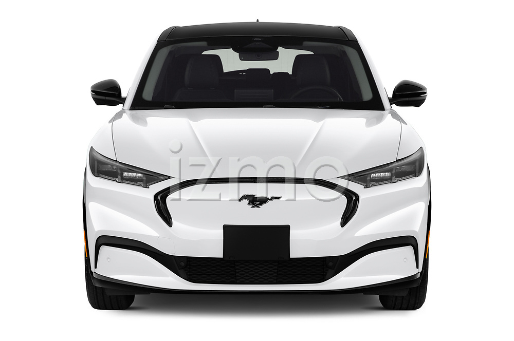 Car photography straight front view of a 2021 Ford Mustang-Mach-E Premium 5 Door SUV Front View