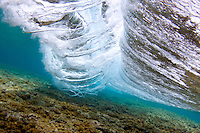 An underwater view of a breaking wave, O'ahu.