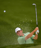 PGA golfer Jason Bohn hits from a sand trap during the 2008 Wachovia Championships at Quail Hollow Country Club in Charlotte, NC.