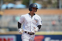 Hoy Park (41) of the Scranton/Wilkes-Barre RailRiders rounds the bases after hitting a home run Rochester Red Wings at PNC Field on July 25, 2021 in Moosic, Pennsylvania. (Brian Westerholt/Four Seam Images)