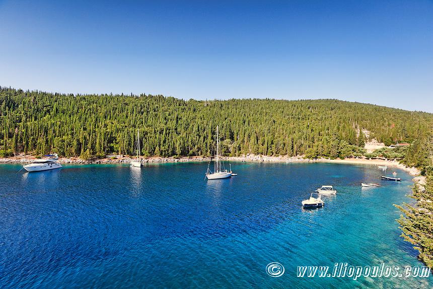 Sailing boats at the beach Foki in Kefalonia island, Greece