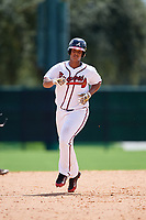 GCL Braves left fielder Christian Zamora (51) rounds the bases after hitting a home run in the bottom of the fifth inning during the first game of a doubleheader against the GCL Yankees West on July 30, 2018 at Champion Stadium in Kissimmee, Florida.  GCL Yankees West defeated GCL Braves 7-5.  (Mike Janes/Four Seam Images)