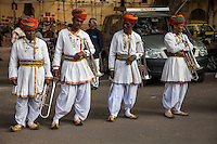 Jaipur, Rajasthan, India.  Musicians Waiting to Play in a Wedding Procession.