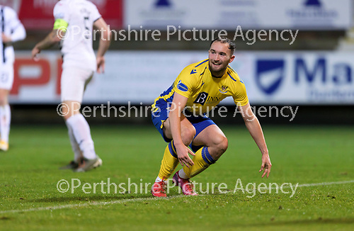 Dunfermline v St Johnstone…15.12.20   East End Park      BetFred Cup<br />A wry smile from Chris Kane after failing to connect with a Scott Tanser cross<br />Picture by Graeme Hart.<br />Copyright Perthshire Picture Agency<br />Tel: 01738 623350  Mobile: 07990 594431
