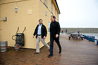 Wednesday 19 February 2014<br /> Pictured:Prime Minister David Cameron Walks with MP Stephen Crabb<br /> Re: Prime Minister David Cameron Visits Flood victims at the Duke of Edinburgh public house in Newgale, Pembrokeshire, Wales