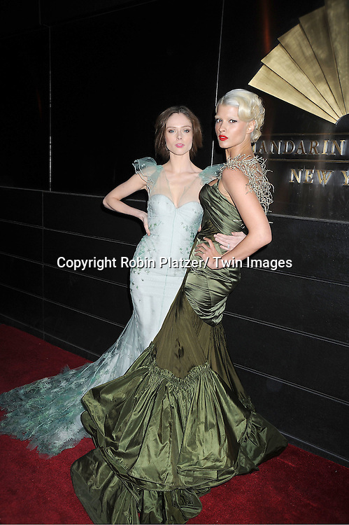 Coco Rocha in Zac Posen green dress  and Crystal Renn in Zac Posen dressarrives to The New Yorkers for Children 9th Annual  Spring Dinner Dance at The Mandarin Oriental on April 10, 2012 in New York City. The event was presented by fashion designer CD Greene.