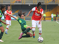 BOGOTA -COLOMBIA, 19-02-2017.Oriana Altuve (R) player of Independiente Santa Fe fights the ball agaisnt Magally Pereira (L) player of La Equidad.Action game between  La Equidad and Independiente Santa Fe  during match for the date 1 of the Women´s  Aguila League I 2017 played at Nemesio Camacho El Campin stadium . Photo:VizzorImage / Felipe Caicedo  / Staff