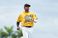 FCL Pirates Gold outfielder Sergio Campana (10) jogs to the dugout during a game against the FCL Rays on July 26, 2021 at LECOM Park in Bradenton, Florida. (Mike Janes/Four Seam Images)