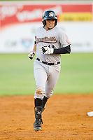 Rafael Valenzuela #14 of the Greeneville Astros rounds the bases after hitting a home run against the Elizabethton Twins at Joe O'Brien Field August 15, 2010, in Elizabethton, Tennessee.  Photo by Brian Westerholt / Four Seam Images