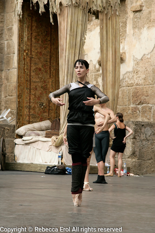 Tamara Rojo, Spanish ballet dancer with The Royal Ballet in London, on the stage of the open-air Aspendos amphitheatre in Antalya, Istanbul, Turkey