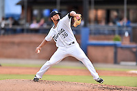 Asheville Tourists starting pitcher Jesus Tinoco (36) delivers a pitch during a game against the Columbia Fireflies at McCormick Field on August 17, 2016 in Asheville, North Carolina. The Tourists defeated the Fireflies 7-6. (Tony Farlow/Four Seam Images)