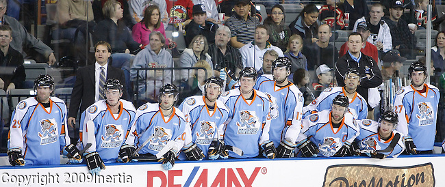 RAPID CITY, SD -- OCTOBER 17, 2009 -- The Missouri Mavericks bench stands as they try to get back in the game during the 3rd period against the Rapid City Rush Saturday. (Photo by Dick Carlson/Inertia)