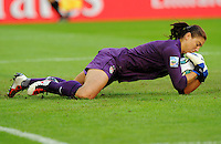 US-goalkeeper Hope Solo during the FIFA Women's World Cup at the FIFA Stadium in Dresden, Germany on June 28th, 2011.