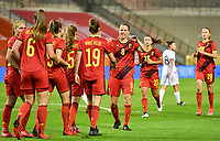 Belgian players pictured celebrating after scoring a goal during a female soccer game between the national teams of Belgium , called the Red Flames and Albania in the second game in the qualification for the  FIFA Women's World Cup in group F , on tuesday 21 st of September 2021  in Brussels , Belgium . PHOTO SPORTPIX