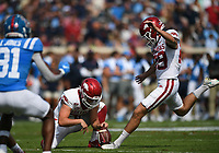 Arkansas Cam Little (29) kicks an extra point, Saturday, October 9, 2021 during the first quarter of a football game at Vaught Hemingway Stadium in Oxford, Miss. Check out nwaonline.com/211010Daily/ for today's photo gallery. <br /> (NWA Democrat-Gazette/Charlie Kaijo)