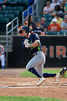 Vermont Lake Monsters Marty Bechina (10) bats during a NY-Penn League game against the Aberdeen IronBirds on August 18, 2019 at Leidos Field at Ripken Stadium in Aberdeen, Maryland.  Vermont defeated Aberdeen 6-5.  (Mike Janes/Four Seam Images)