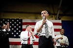 "Tuesday, May 8,  2007. Richmond, VA.. US Presidential candidate and senator Barack Obama, held what was billed as a ""low dollar fundraiser"" at Plant Zero in Richmond, VA, drawing a crowd of 700 supporters.. He was joined on stage by (l to r) Chair of the Virginia Legislative Black Caucus Dwight Jones, VA Governor Tim Kaine and congressman Bobby Scott."