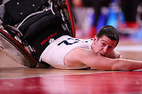 25th August 2021; Tokyo, Japan; Jamie Stead (GBR) goes to ground,<br />  Wheelchair Rugby : Pool Phase Group B match between Great Britain - Canada during the Tokyo 2020 Paralympic Games at the Yoyogi National Gymnasium in Tokyo, Japan.