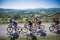 Zdenek Stybar (CZE/Deceuninck - QuickStep), Dion Smith (NZL/Mitchelton-Scott), Brian van Goethem (NED/Lotto-Soudal) & Owain Doull (GBR/Ineos) crossing the Basque Country<br /> <br /> Stage 11: Saint-Palais to Urdax-Dantxarinea (180km in The Basque Country > FRA & ESP) <br /> La Vuelta 2019<br /> <br /> ©kramon