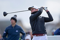 3rd October 2021; The Old Course, St Andrews Links, Fife, Scotland; European Tour, Alfred Dunhill Links Championship, Fourth round; Wilco Nienaber of South Africa tees off on the fourth hole on the second hole during the final round of the Alfred Dunhill Links Championship on the Old Course, St Andrews
