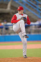 Brooklyn Cyclones relief pitcher Shane Bay (25) in action against the Hudson Valley Renegades at Dutchess Stadium on June 18, 2014 in Wappingers Falls, New York.  The Cyclones defeated the Renegades 4-3 in 10 innings.  (Brian Westerholt/Four Seam Images)